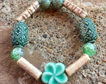 Beaded Bracelet with Moroccan and Green Flower Beads