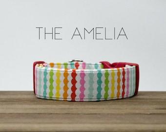 "Modern Colorful Girly Stripe ScallopedDog Collar ""The Amelia"""