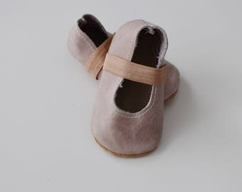 ballet flats /soft soled leather shoes / baby moccasin moccs / MAUVE-PINK
