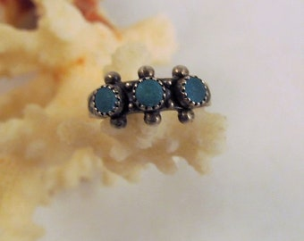 Baby Ring Sterling Turquoise Pinky Midi Southwestern Vintage
