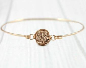 Druzy Bracelet, Rose Gold Bangle, Minimalist Bracelet, Dainty Bracelet, Stacking Bracelet, Bridesmaid Jewelry, bridesmaid bracelet, Silver