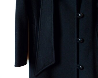 1960s Vintage Wool Overcoat / Glamourous Black Wool Coat / Satin Lined Heavy Weight Evening Jacket / 100% Pure Wool