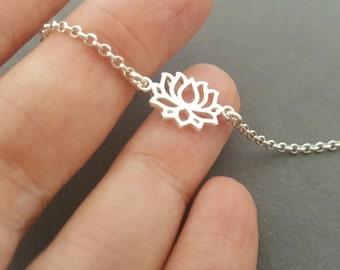 Lotus Bracelet or Anklet stackable bracelet sterling silver yoga bracelet gifts for her minimalist bracelet boho anklet