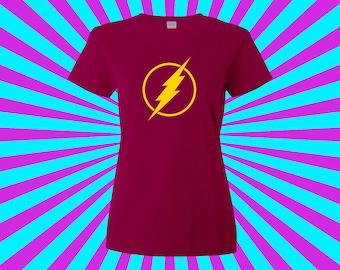The Flash - Retro Flash Logo Ladies T-Shirt S- 2XL ..  High Quality! Ships Fast!