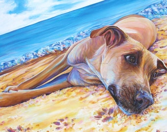 "Dog Print, Dog Art ""Dog on the Beach"" Giclee Art Print of original acrylic dog painting by Kate Green"