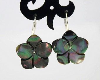 Natural 15mm Black Mother of Pearl Seashell Flower 925 Silver Leverback Earrings E391