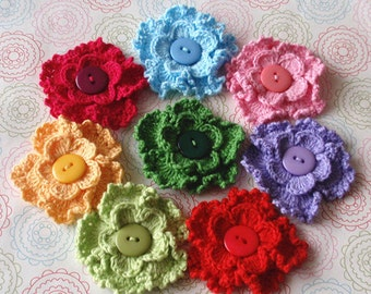 8 Crochet Flowers With Button In Multicolor  YH-146-01