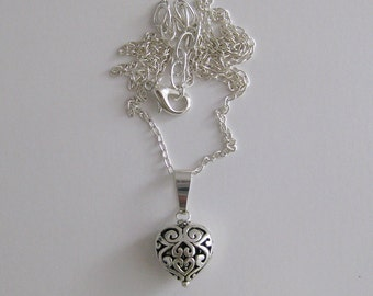 Silver Filigree Celtic Heart Necklace
