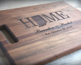 Personalized Engraved State Shape Cutting Board  8 x 14