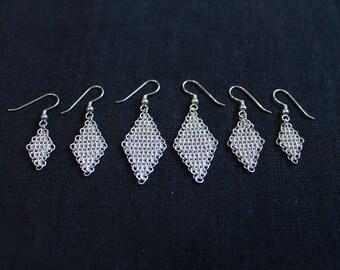 Earrings Eardrops Silver chainmail diamond
