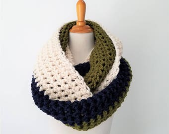 READY TO SHIP Oversized Scarf, Huge Scarf, Large Scarf,  Oversized Infinity Scarf, Chunky Huge Snood, Tricolor Scarf
