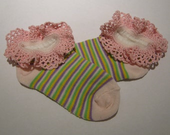 Hand Crocheted Lace edged Anklet's, ankle sock, Light Pink sock with a purple, pink, yellow and a yellow stripe, sock size 4 to 6