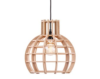 Wooden hanging lamp/wood lamp ' Globe ' by The Lingehof