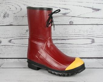 Men's Sz. 12 Vintage LaCrosse Steel Toe Red Rubber Work Rain Boots