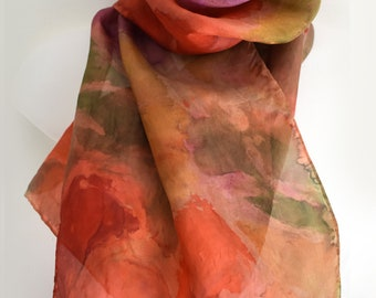 Hand-Painted Silk Scarf, Long Scarf, Persimmon, Olive, Lilac,  Beautiful Colors