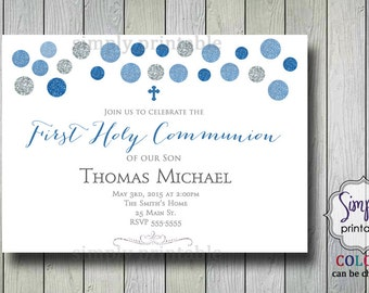 Boys First Communion Invitation Printable 1st Communion Invite