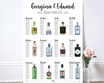 Gin theme seating/table plan