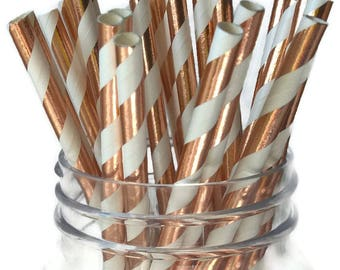 rose gold straws, foil paper straws, 10CT, wedding decorations, bridal shower, girls birthday party, baby shower, striped, New Years Eve