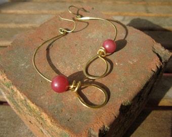 Elegant Brass Earrings, Long brass earrings, hammered brass