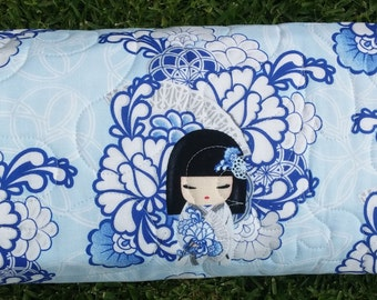 Baby quilt, bassinet, stroller, pram, tummy time, daycare, change mat - Kimmi Dolls in blues
