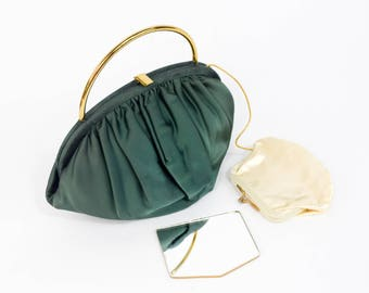 50s Green Satin Evening Bag | Ingber USA