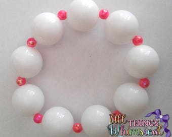 White and Pink Chunky Bubblkegum Adult Bracelet