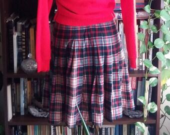 Back to School Reversable Vintage Wool Plaid Skirt