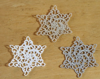 Little Snow Flakes - Embroidered Lace Ornaments or Seasonal Decor