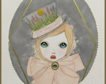 Original art little lost girl lowbrow fantasy art