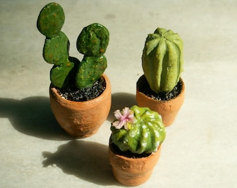 Dollhouse Miniature Cactus set of 3, Dollhouse Plants, 1:12 scale, Miniature Plants, Dollhouse Accessories, Dollhouse Flowers
