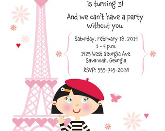 Paris poodle birthday invitation poodle birthday invitation french birthday party invitation for girls stopboris Images