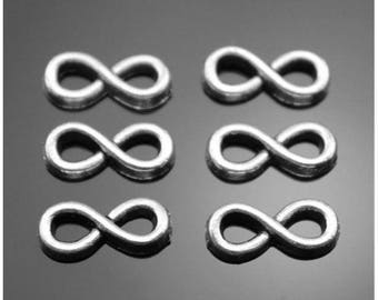 14 Mini Infinity Charms Connectors Little Tiny Infinities Jewelry Beading Supplies 12x5mm