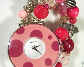 Bracelet Watch, Pink, Rose, Silver, Stretch, Polka Dot, Glass, Crystal, Rhinestone, One Size, Narmi, Jumbo, OOAK, Jennifer Jones, Pink Love