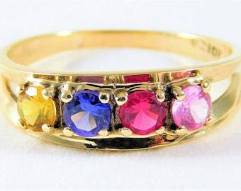 Vintage14kt Yellow Gold 4 Gemstone Ring