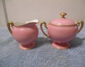 RS German Pink Porcelain Sugar Bowl Creamer Set