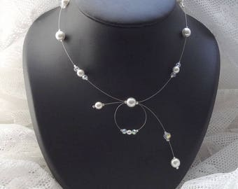White bridal necklace and cristal♥ Collection Classica ♥ Emma ♥ wedding ceremony necklace - Crystal bridal necklace