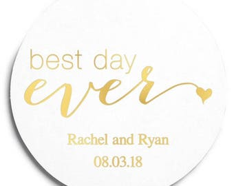 Set of 100 Round Wedding Coasters - Best Day Ever - Custom Coasters - Weddings - Wedding - Wedding Reception - Wedding Coasters