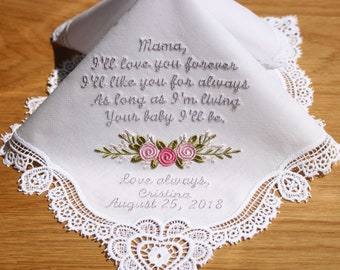 Embroidery Wedding Handkerchief with Claddagh Cluny Lace to Mother of Bride Monogrammed Personalized Custom(18325-1)