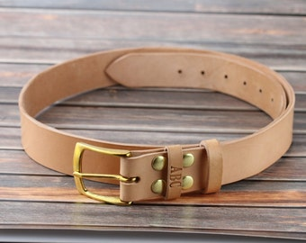 Natural leather belt men Personalized leather belt Brass buckle 1.5 In wide Full grain vegetable tanned leather belt Genuine leather belt