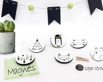 Wooden Fridge Magnet-  Kitchen Magnet - Button Magnets - Decorative Magnets - Refrigerator Magnets - Kitchen Decor - Set of 6 Magnets