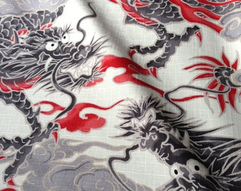 Japanese fabric, traditional dragon, background, unbleached, cotton 110 x 50 (272)