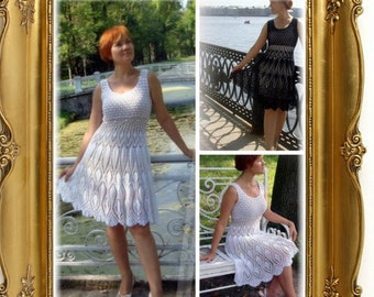 Clouded white cotton crochet dress pattern for woman diagram and international chart in photo (not d written explanation) pdf format