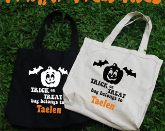 Trick or Treat Totes, Halloween Bag, Candy Bag, Halloween Candy Bag, trick or treat, halloween, custom tote, halloween tote bag, kids gift