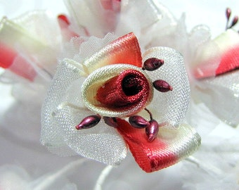 Satin Ribbon Flower Embellishments in Deep Red