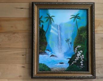 Hawaiian waterfall. Tropical waterfall. Jurassic Park. Big Waterfall. Island getaway