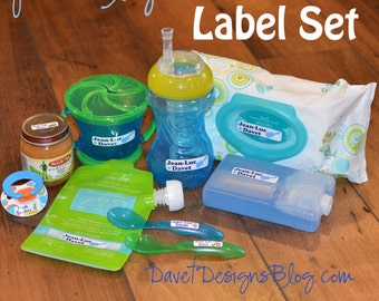 Combo Pack: 50 Waterproof Kid's Sippy Cup & small Paci size Labels - Dishwasher Safe - great on food container, bottle, lunch box, jars C001
