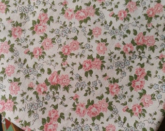 Vintage French Fabric, Small Floral Print Fabric, French Vintage Textile, 1960s Floral Fabric, Patchwork Cotton, Quilting & Patchwork Fabric