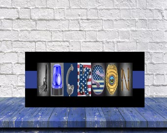 Police Officer Gifts, Thin Blue Line, Police Officer Gift, Police Officer, Police Letter Art, Police Wife, Police Mom, Personalized, Fiance