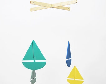 Baby Mobile // Boat Mobile // Sail Away Mobile // Baby Shower Gift // Gifts for New Parents // Nursery Decor