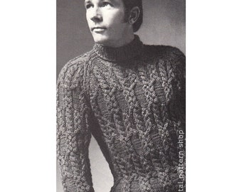 Mens Sweater Knitting Pattern Braided Cable Raglan Sweater Knit Turtleneck Pullover Sweater Pattern PDF Instant Download - K73